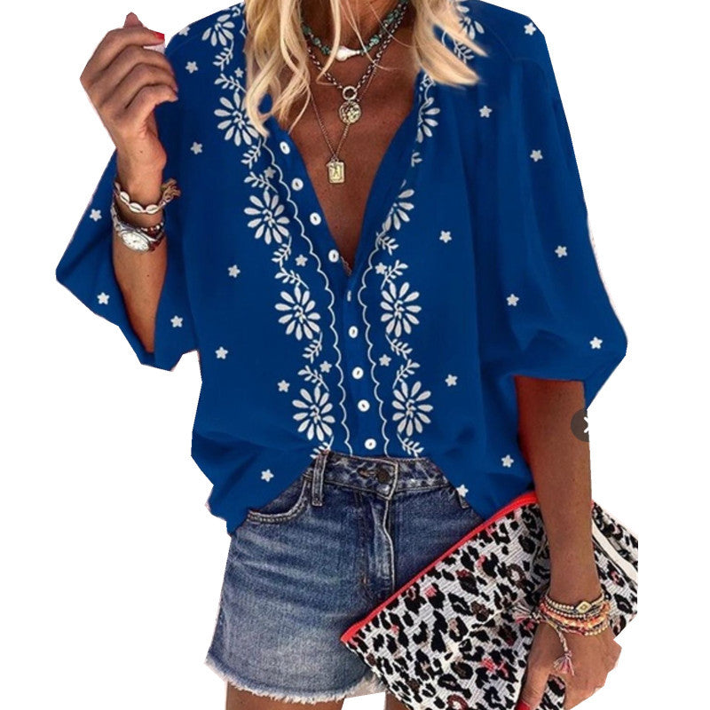 Loose Printed Long-Sleeved Button Cardigan Shirt