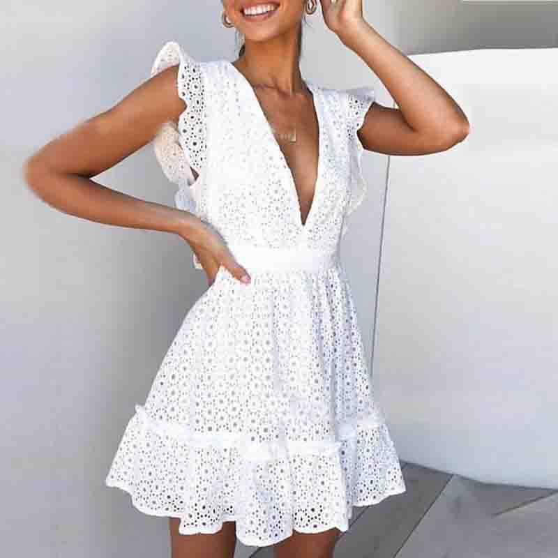 White Sexy V-Neck High Waist Dress