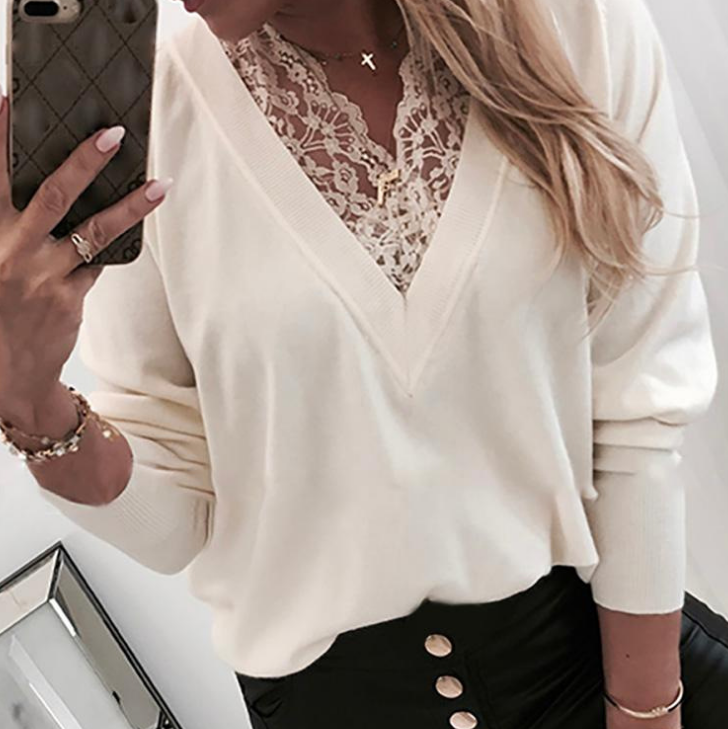 Ladies V-neck Lace Long Sleeve Top