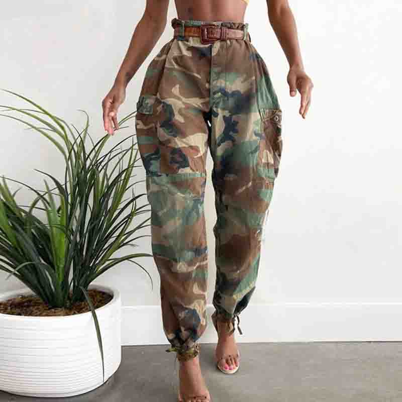 High Waist Camouflage Print Casual Pants