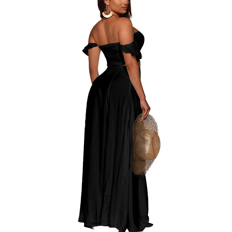 Off Shoulder Ruffles Top & Thigh Slit Skirt Sets