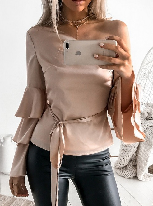 Fashion Solid Color Long-Sleeved Shirt