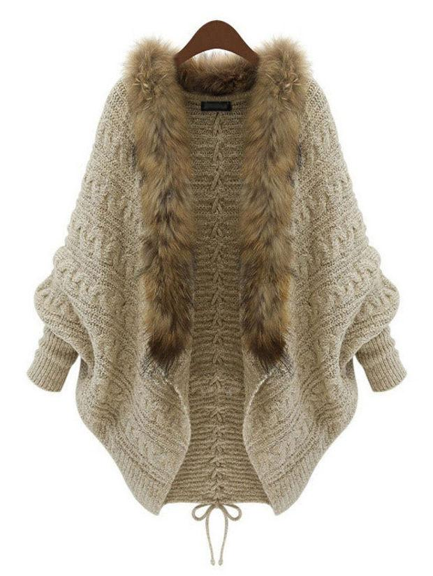 Beige Rabbit Fur Collar Knit Long Sleeve Sweater