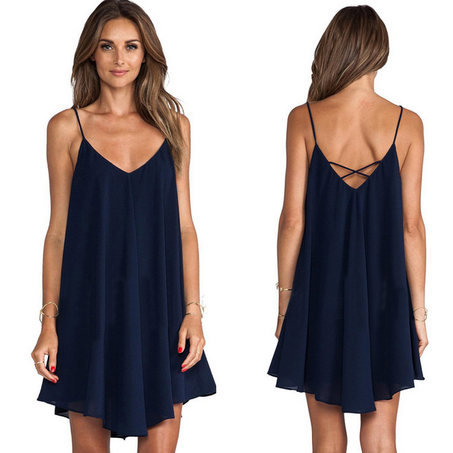 Fashion Sling Sleeveless V-Neck Dress