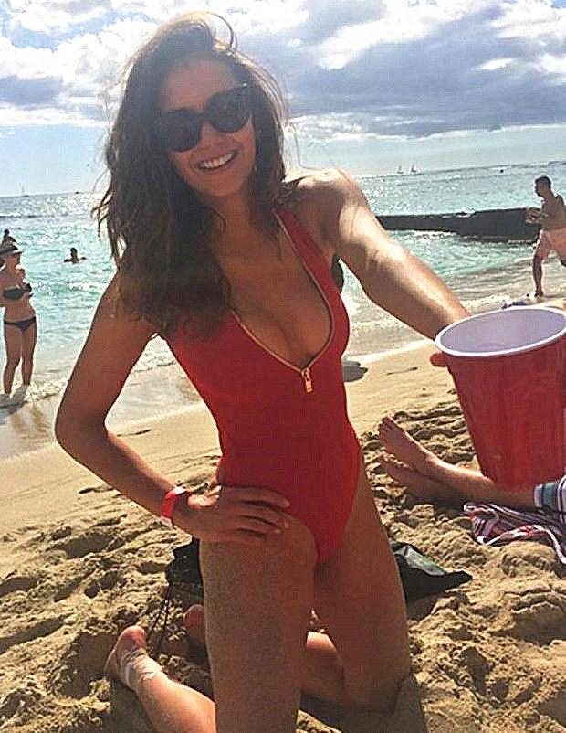 Hot Red One Piece Deep V Zipper Bikini Swimwear Bath Suit