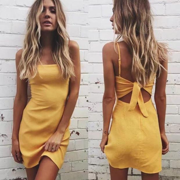 Butterfly Spaghetti Strap Dress Summer Stylish One Piece Dress