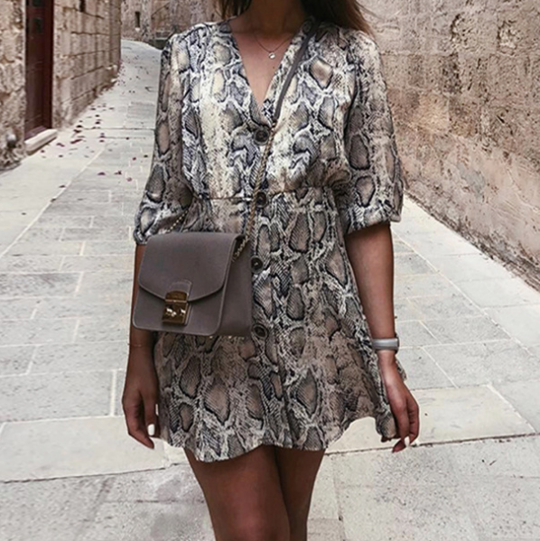 Fashion V-Neck Mini Print Dress