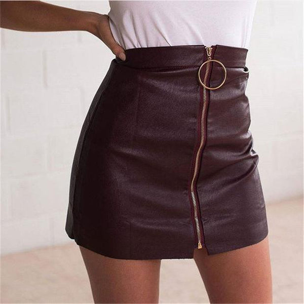 Zippers PU Leather Skirt