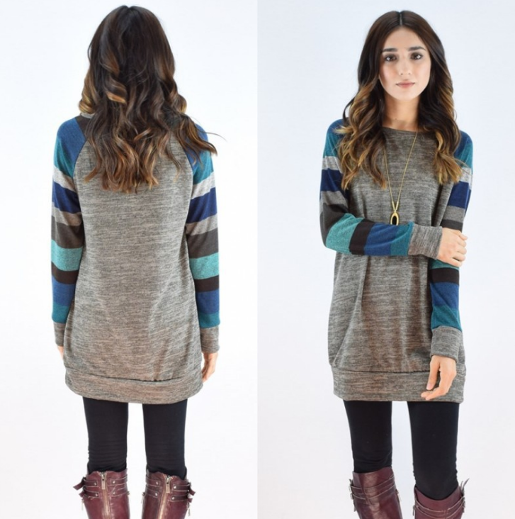 Long-Sleeved Round Neck Striped Sweater