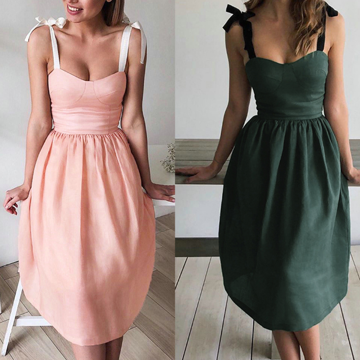 Design Solid Color Sexy Sleeveless Dress