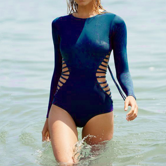 Solid Color Sexy Swimsuit Long Sleeves One Piece Swimwear