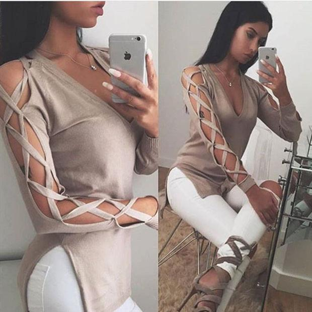 Ladies Long Sleeve Irregular Tops Sexy
