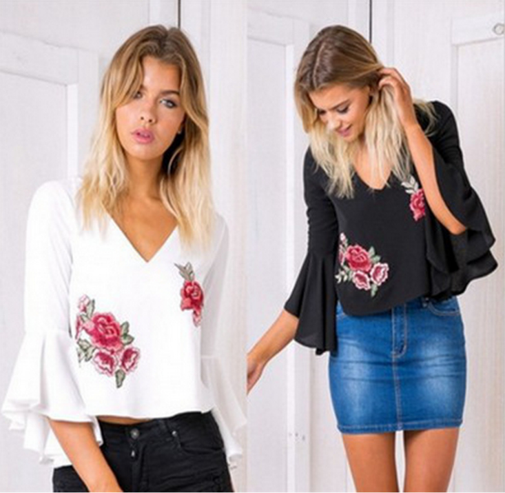 Fashion V-Neck Embroidery Chiffon Blouse