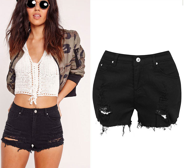 Design High Waist Elastic Denim Shorts