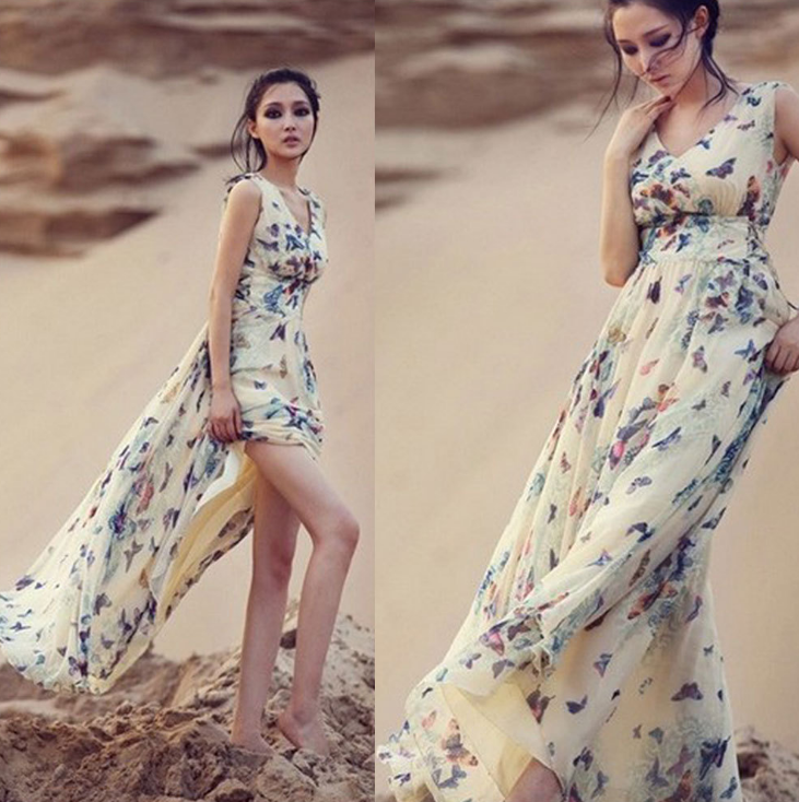 Ladies fashion loose chiffon hot sale summer print maxi women dresses beach casual o-neck 2017 sleeveless sexy long dress plus size