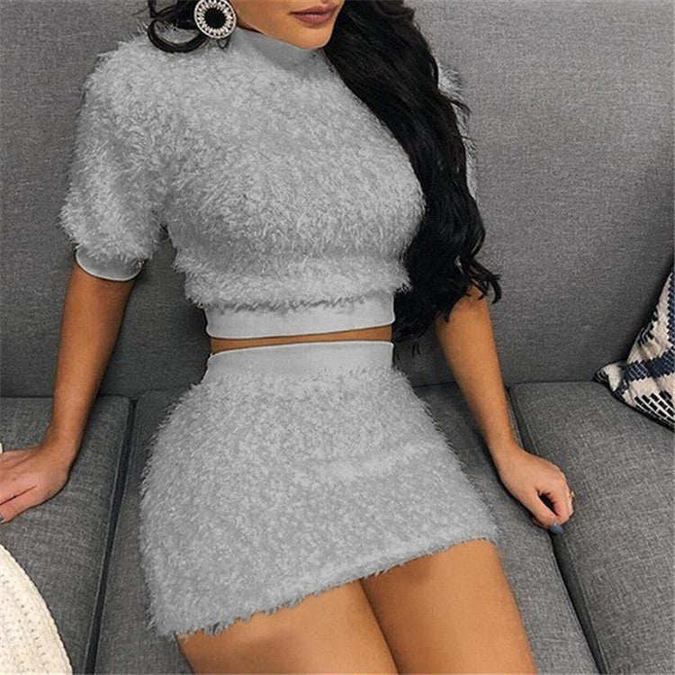 Sexy Short Sleeve Women'S Hip Two-Piece Suit
