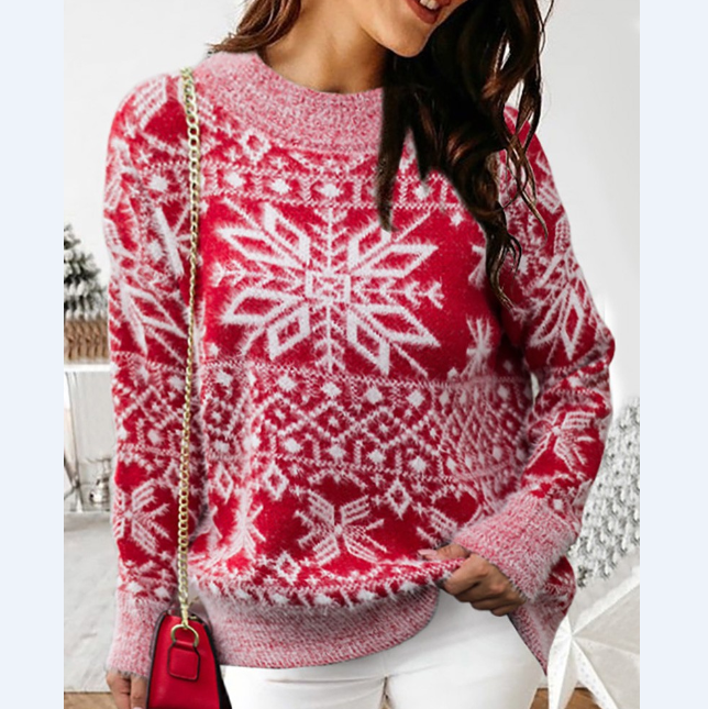 Women'S Long Sleeve Round Neck Knitted Sweater