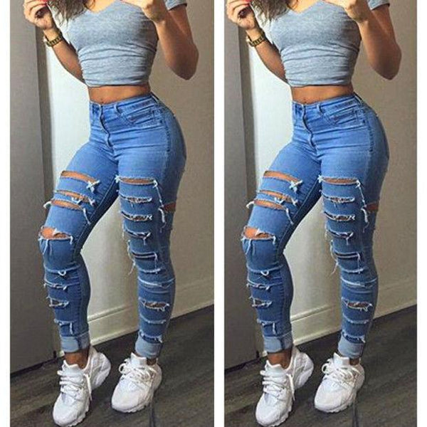 Women Lady Fashion Denim Skinny Ripped Pants High Waist Hole Stretch Jeans Slim Pencil Trousers Women
