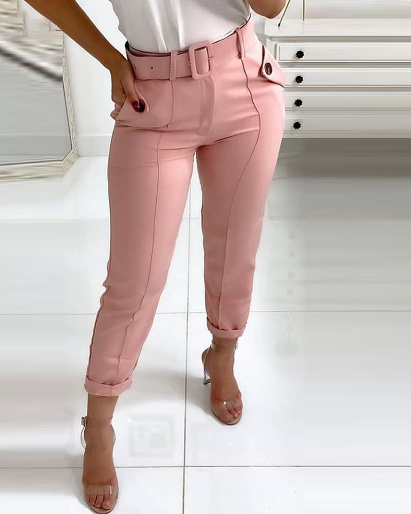 Pocket Design Buttoned Casual Pants