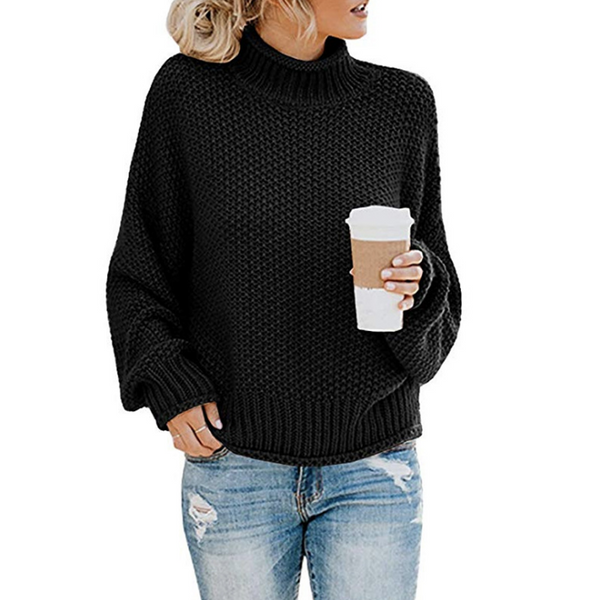 Loose High-Necked Women'S Long-Sleeved Knit Sweater