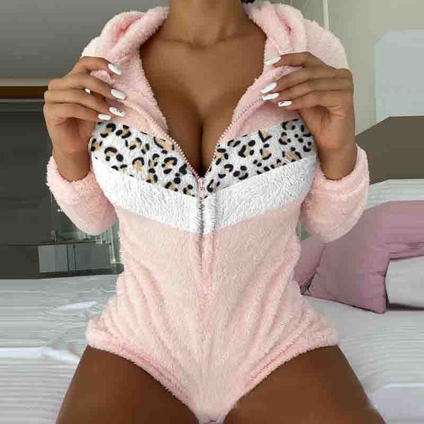 Women's Leopard Print Long Sleeve Jumpsuit