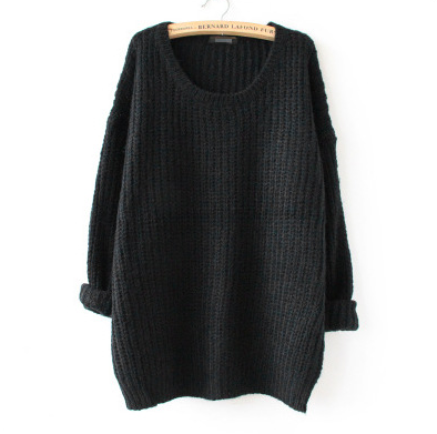 Oversized Knitted Crewneck Casual Pullovers Sweater