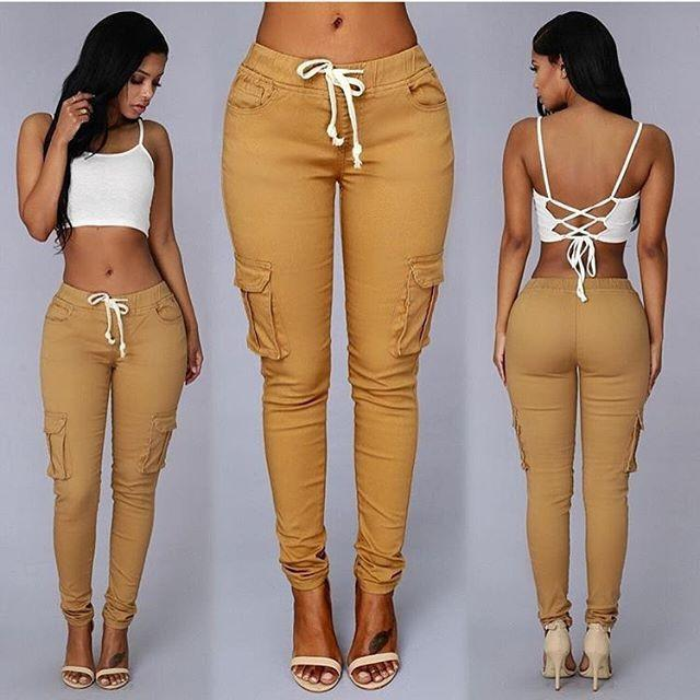 Fashion Pocket Long Pants