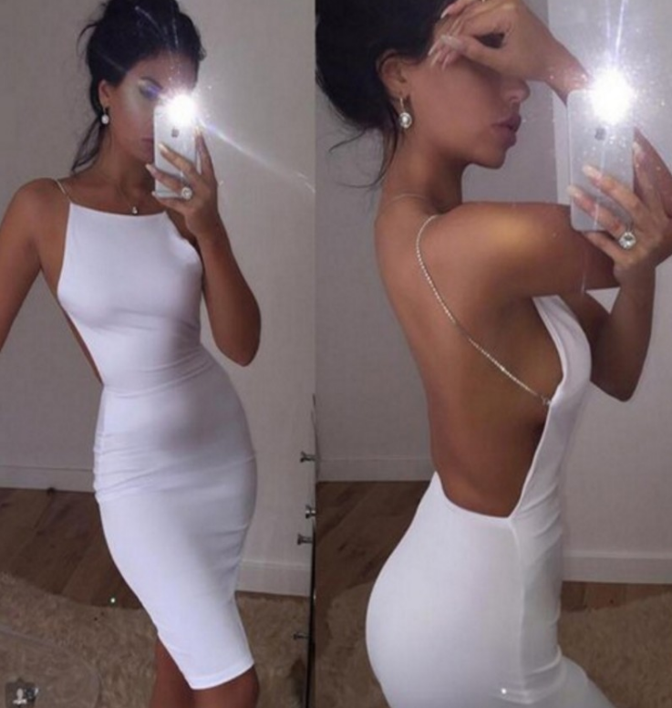 Solid Color Sexy Backless Dress