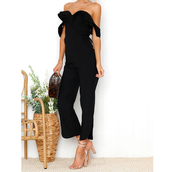 Black Sexy Wrapped Chest Backless Jumpsuit