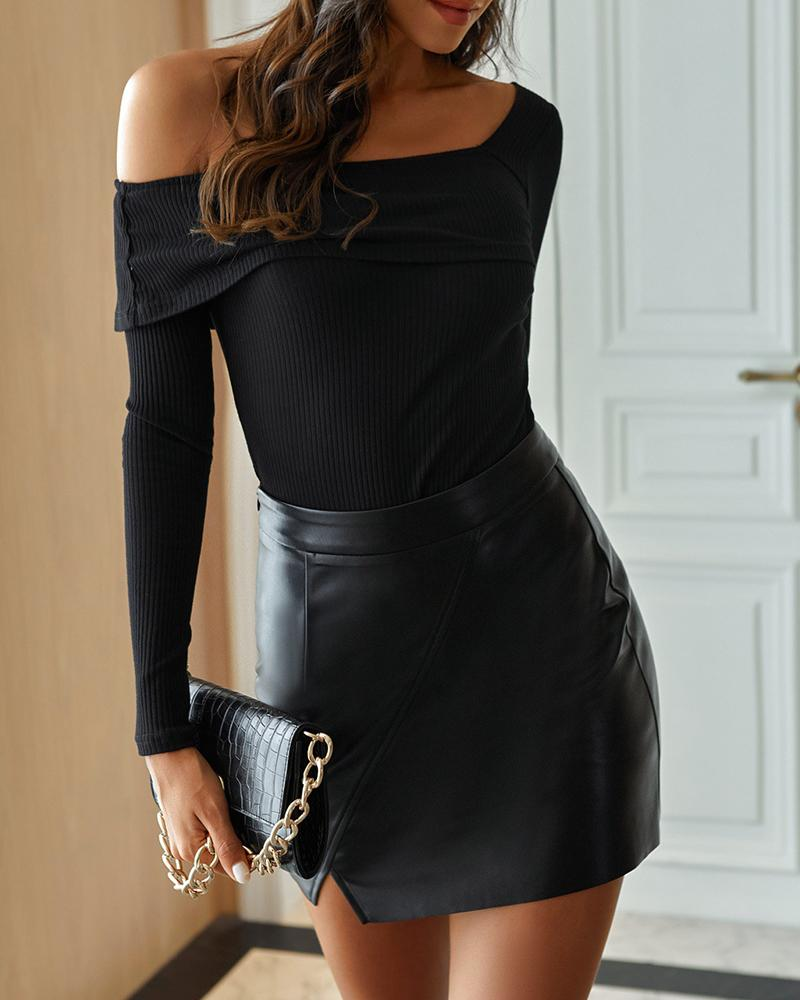 Casual High Waist Fashion Irregular PU Leather Skirt