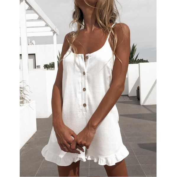White Sling Sleeveless Ruffled Jumpsuit