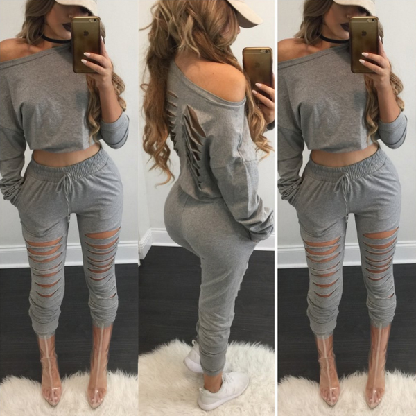 Solid Color Sexy Two-Piece Pants