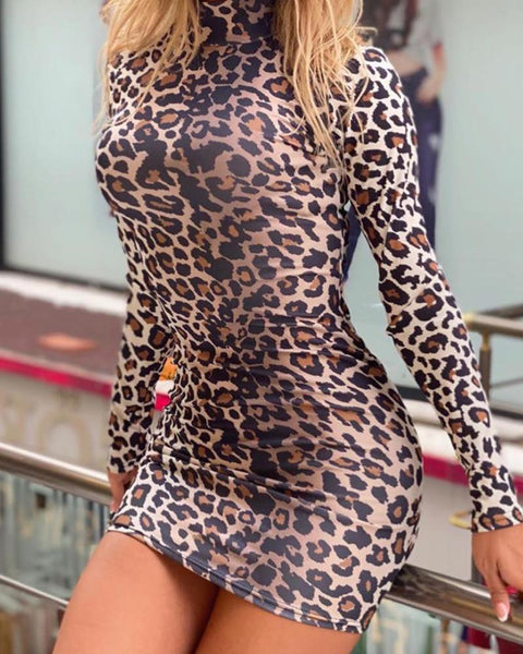 Leopard Print Fashion Long Sleeve Dress