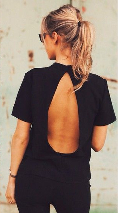 Sexy Backless Short Sleeve T-Shirt