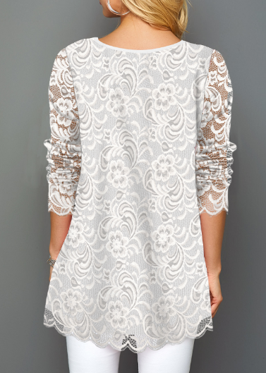 White Decorated Button Lace T Shirt