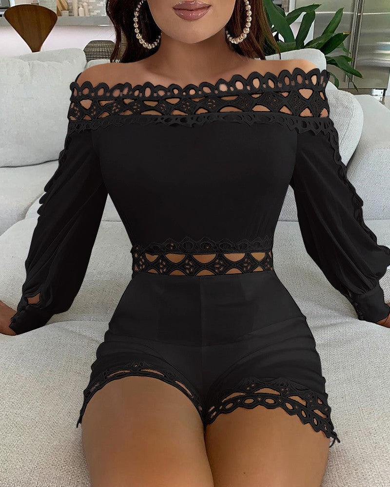 Women'S One Shoulder Splicing Lace Jumpsuit