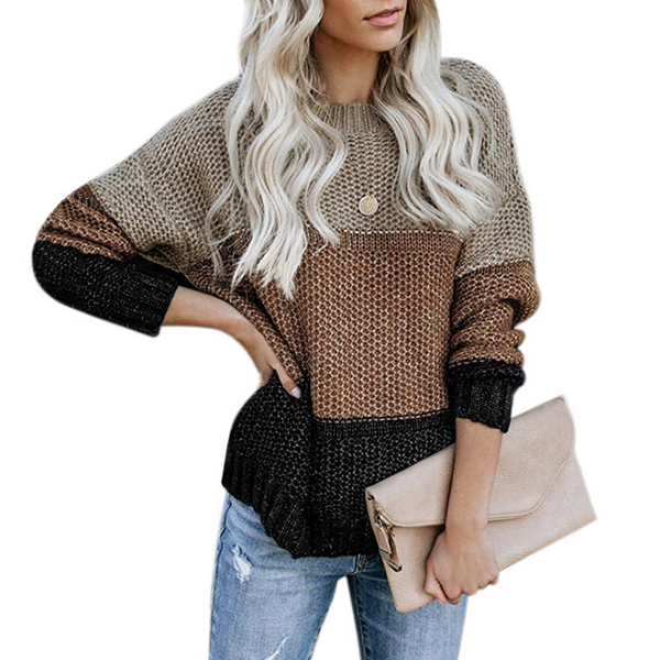 Fashion Striped Colorblock Knit Sweater