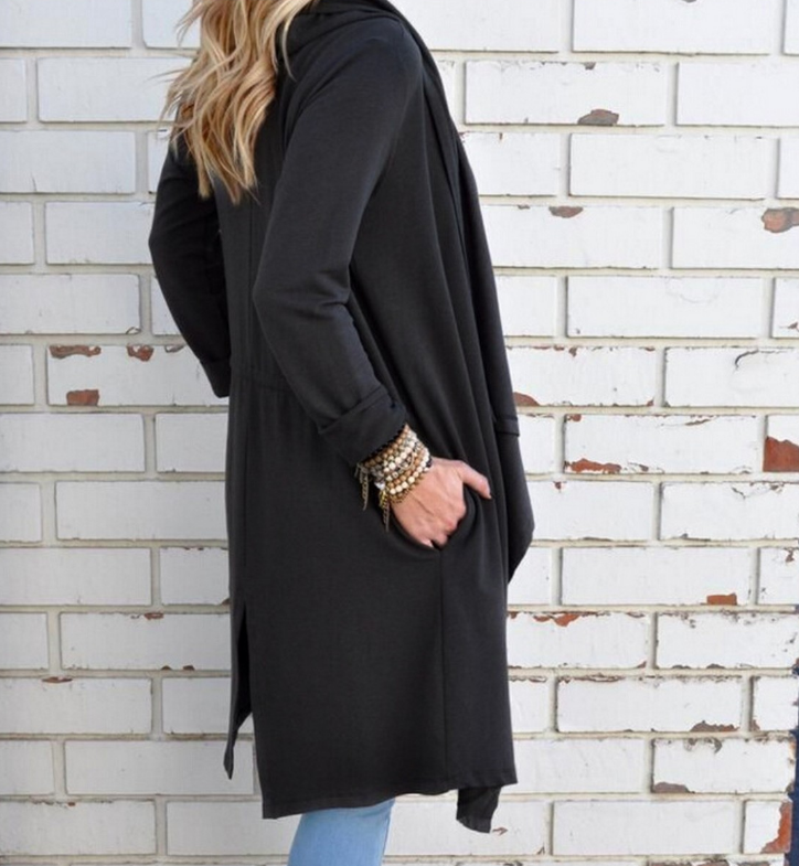 Fashion Solid Color Long-Sleeved Cardigan