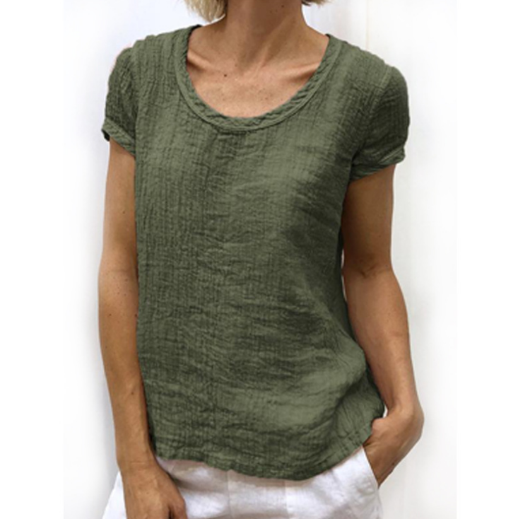 Loose Round Neck Short-Sleeved T-Shirt Top