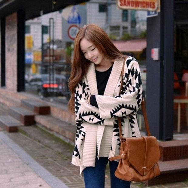 Fashion Women Casual Oversized Knit Sleeve Sweater Coat Knitwear Cardigan Jacket