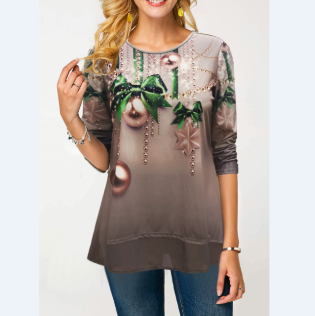 Long Sleeve Christmas Print Round Neck T Shirt