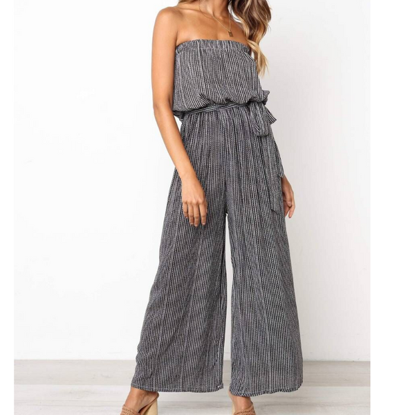 Sexy Women'S Striped Print Jumpsuit