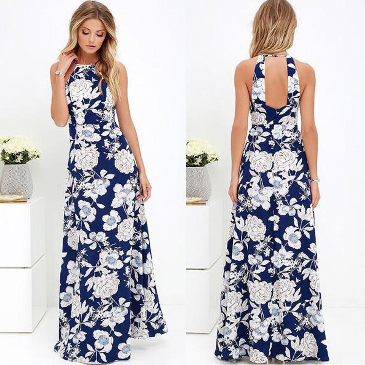 Sexy Printing Backless Dress