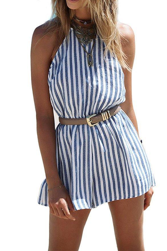 Fashion Stripe Backless Jumpsuits