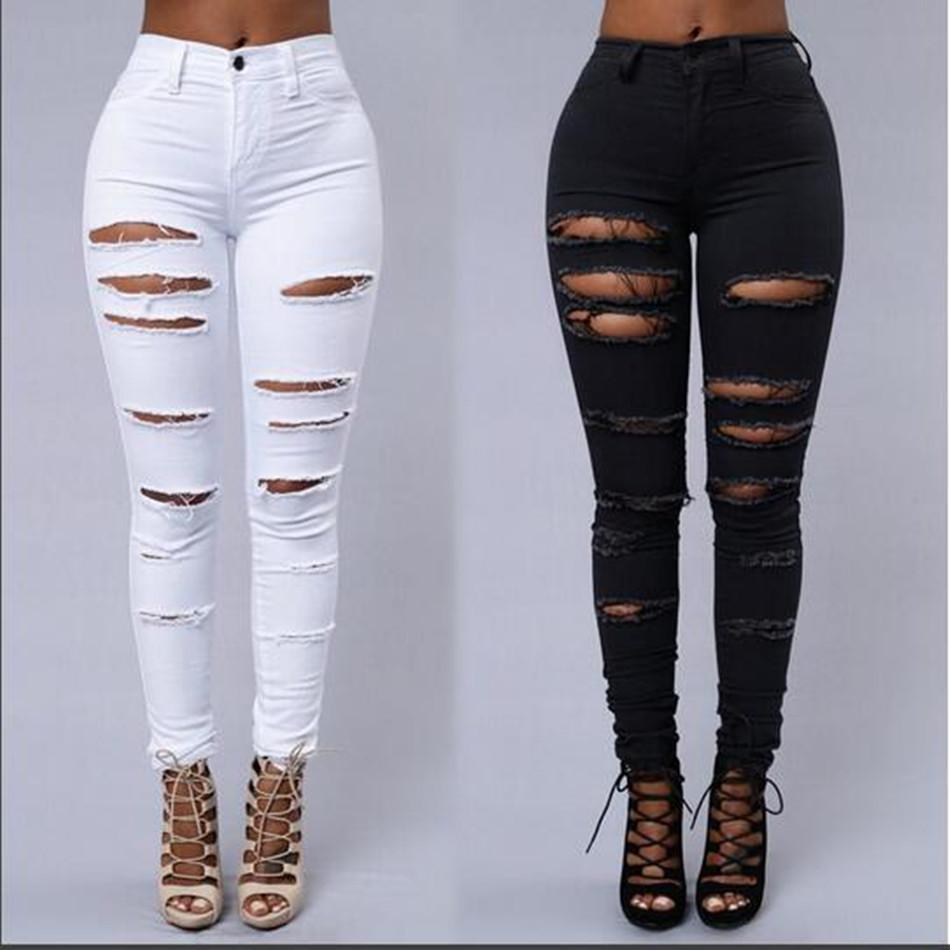 High Waist Stretch Denim Trousers