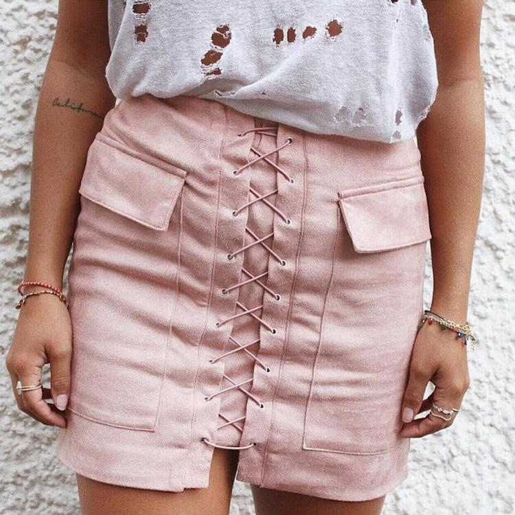 Fashion Crisscross Pocket Solid Tight Skirt
