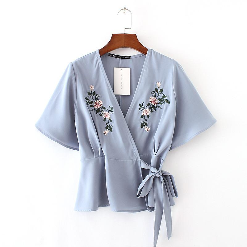 Sexy V-Neck Embroidery Short Sleeve Shirt