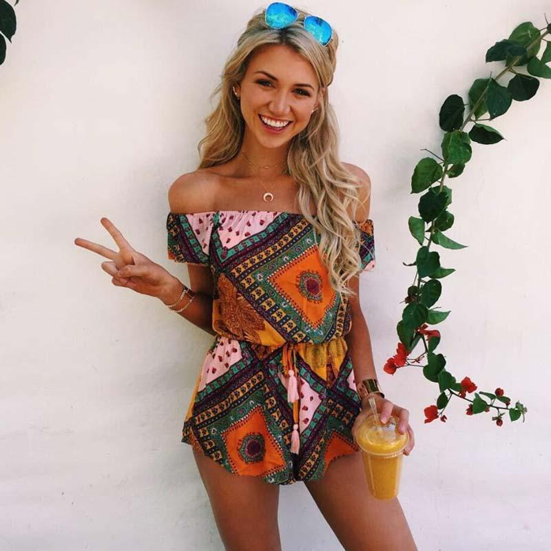 Fashion Printing Backless Jumpsuits
