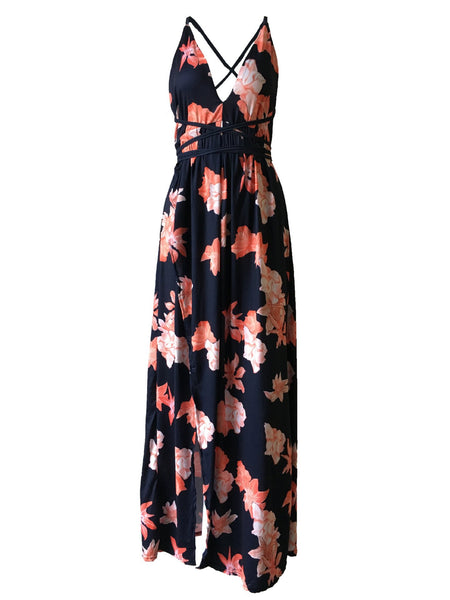 Royal Blue Backless Wrap Slit Maxi Floral Dress