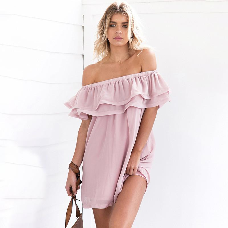 Double-layered Ruffle Chiffon Dress One Piece Dress